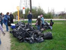 Unfortunately there is always a lot to cleanup along the trails all year around. See this pile of trash cleaned up by the Girl Scouts.
